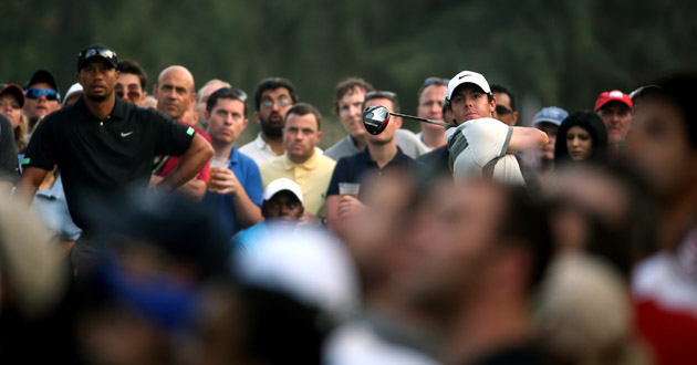 a3fc4c821 Rory McIlroy maintained his lead on the second day of the Omega Dubai  Desert Classic, but Brooks Koepka is hot on his heels after the young  American posted ...